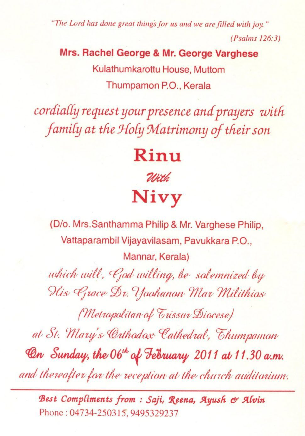 Christian Wedding Invitation Cards In Kerala Check more at http