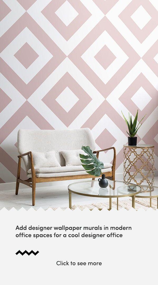 Pink  White Geometric Wallpaper  Dusky Pink  MuralsWallpaperamp