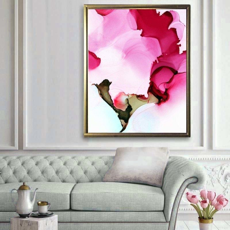 Cerise Petals Abstract Giclee Print Oversized Flower Painting Home Decor Statement Art Canvas Giclee Abstract Watercolor Paintings Abstract Flower Painting