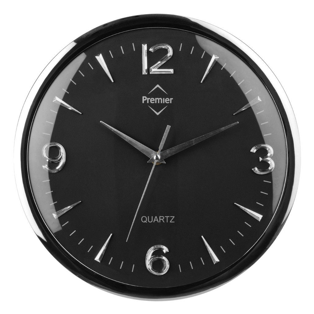 Wall Clock, Chrome Effect/Black