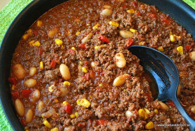 chili con carne med ris recept