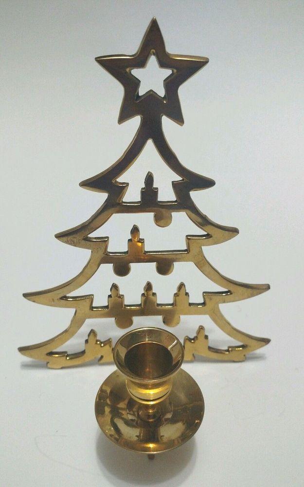 Christmas Tree Shape Brass Candle Holder Holiday Decor   Brass candle holders, Candle holders ...