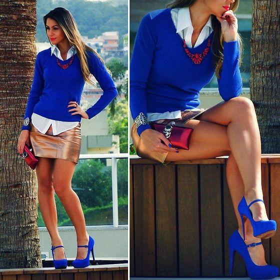 Azul+vermelho+dourado 'velho' = look lindeza!