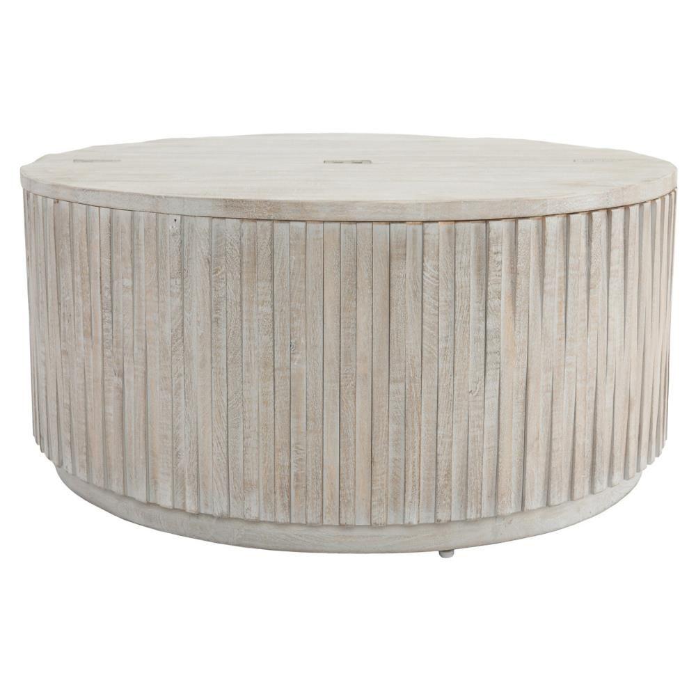 Layla Coastal Beach White Washed Mango Wood Round Coffee Table In 2021 Round Wood Coffee Table Round Coffee Table Drum Coffee Table [ 1000 x 1000 Pixel ]