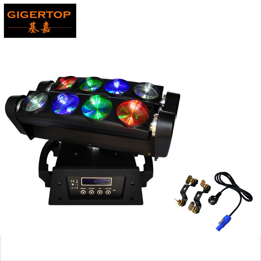 Cheap Price Stage Light Rgbw Beam Led Moving Head Spider 8 Eyes Light Dmx 13 46dmx Channel Double Head Rgbw 4in1 Beam Spider Light Cree Led Commercial Lighting