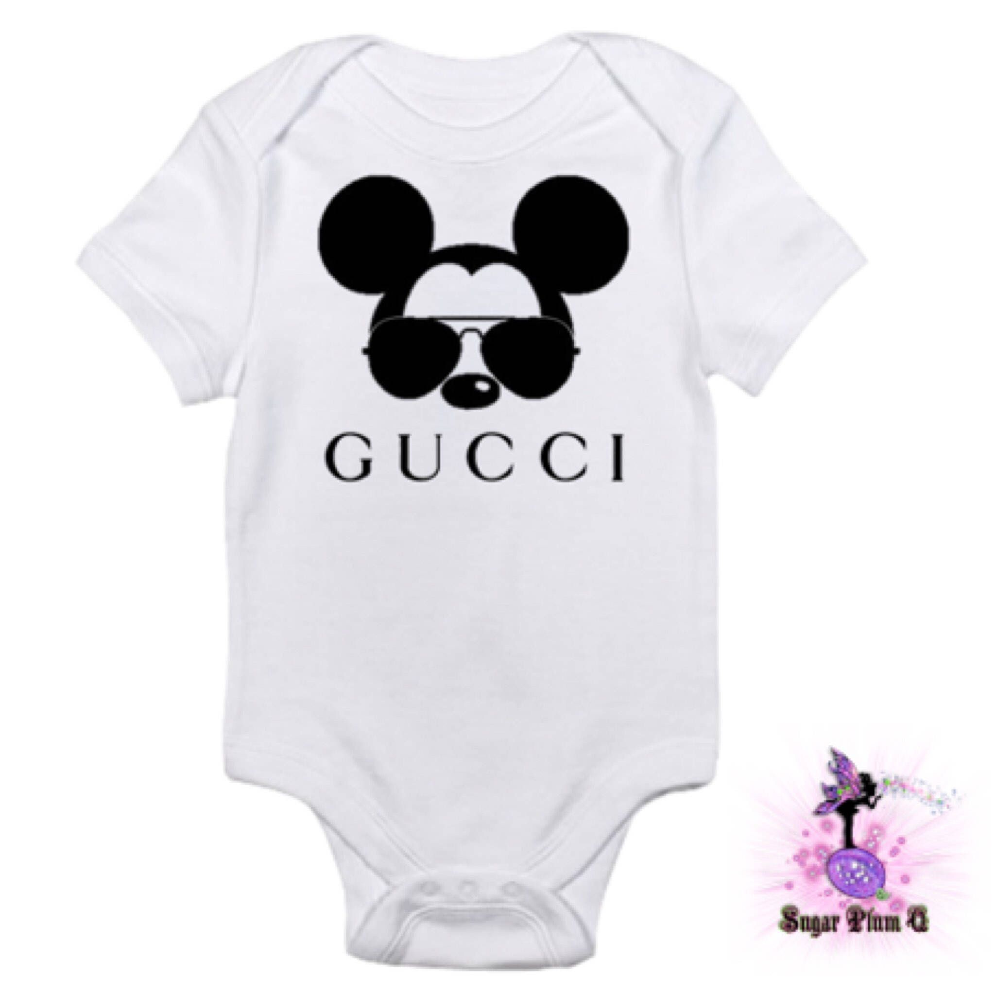 816876bbc Designer Inspired Gucci Mickey Mouse with Aviator Sunglasses Baby Onesie  Babyshower Gift | First Birthday