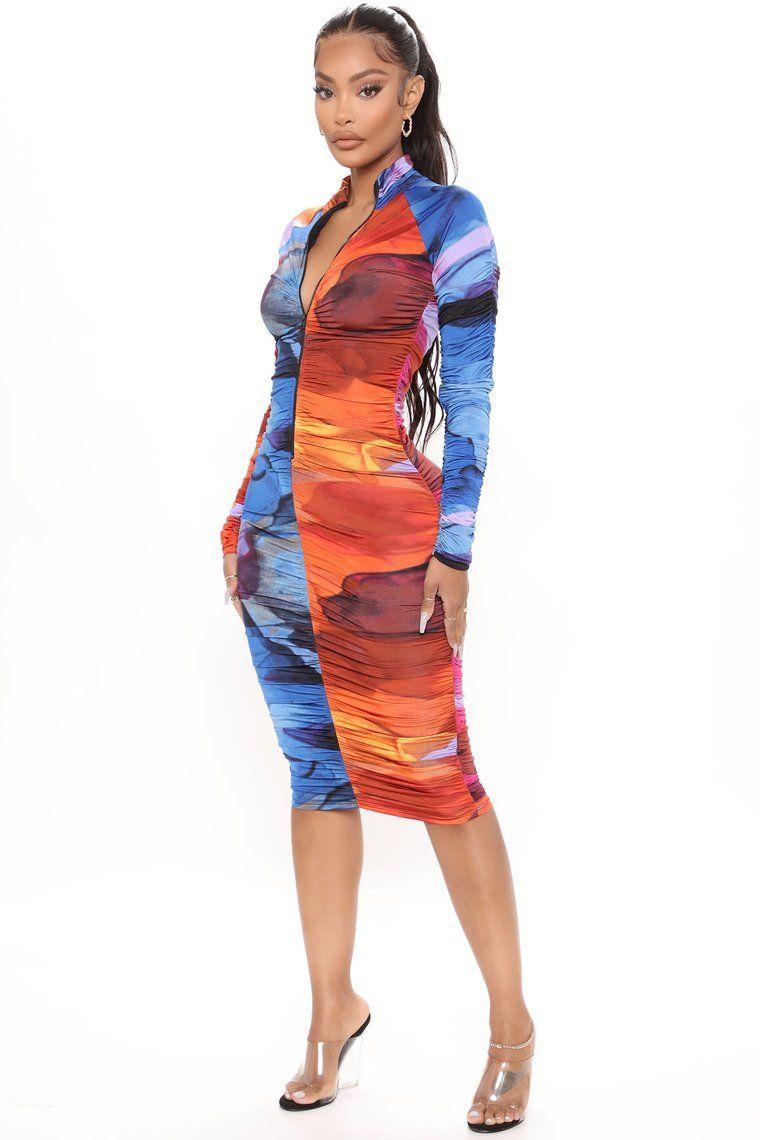 Mindful Color Ruched Midi Dress Fuchsia Combo In 2021 Midi Dress Bodycon Ruched Midi Dress Fashion [ 1140 x 760 Pixel ]
