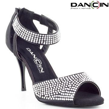 Scarpa da Ballo Donna 4 Fasce con Cristal Strass in Raso Flesh TC cm 7,5