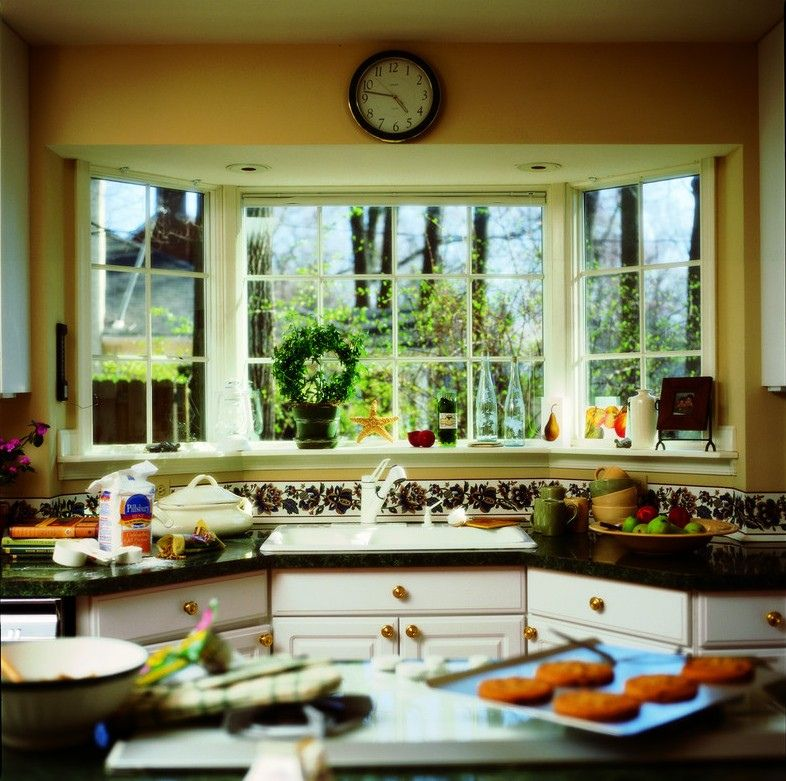 Decoration Stunning Kitchen With Luminious Glass Window Style In