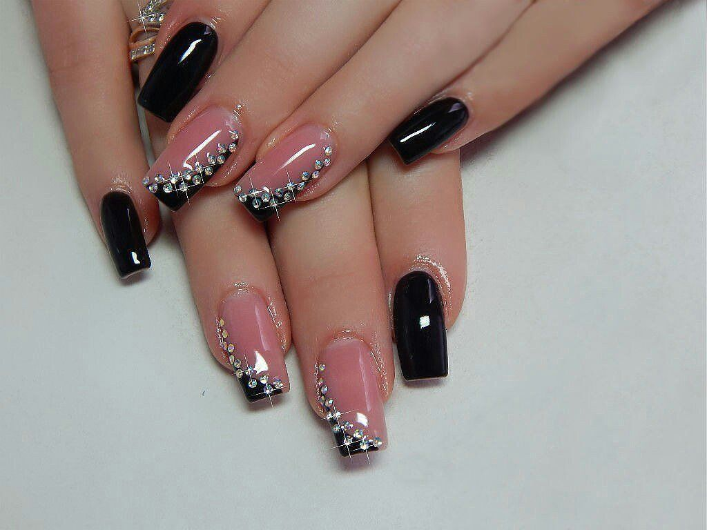 Black dress nails - Winter Nails An Evening Manicure By Gel Varnish With Rhinestones Looks Sexy And Attractive An Elegant Black