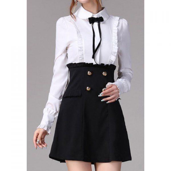 Vintage Polo Collar Color Splicing Flounce Edge Long Sleeves Women's Dress, BLACK, L in Vintage Dresses | DressLily.com