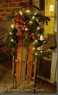 Cool Front Porch Decoration Old Wooden Sled Lighted Up And Worn