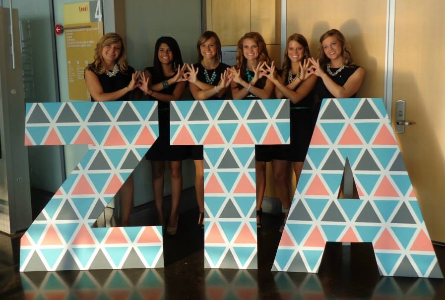 Zeta Tau Alpha recruitment #ZetaTauAlpha #ZTA #Zeta #recruitment #rush #letters #sorority SEC Game Day http://www.pinterest.com/SratStylista/