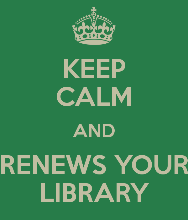 Keep calm and renews your library (@cdevolder)