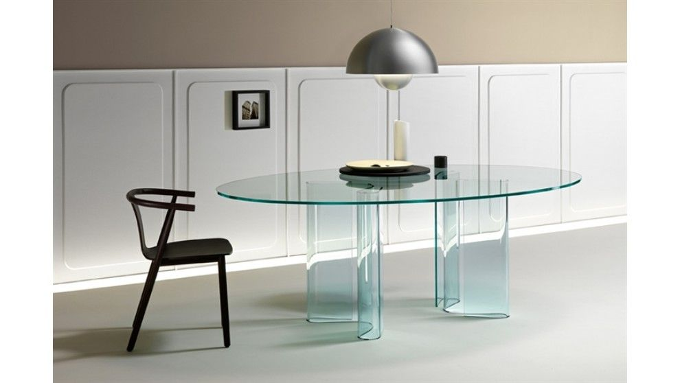 Sahara Oval Minimalist Contemporary Glass Dining Tablefiam Gorgeous Italian Glass Dining Room Tables Decorating Design