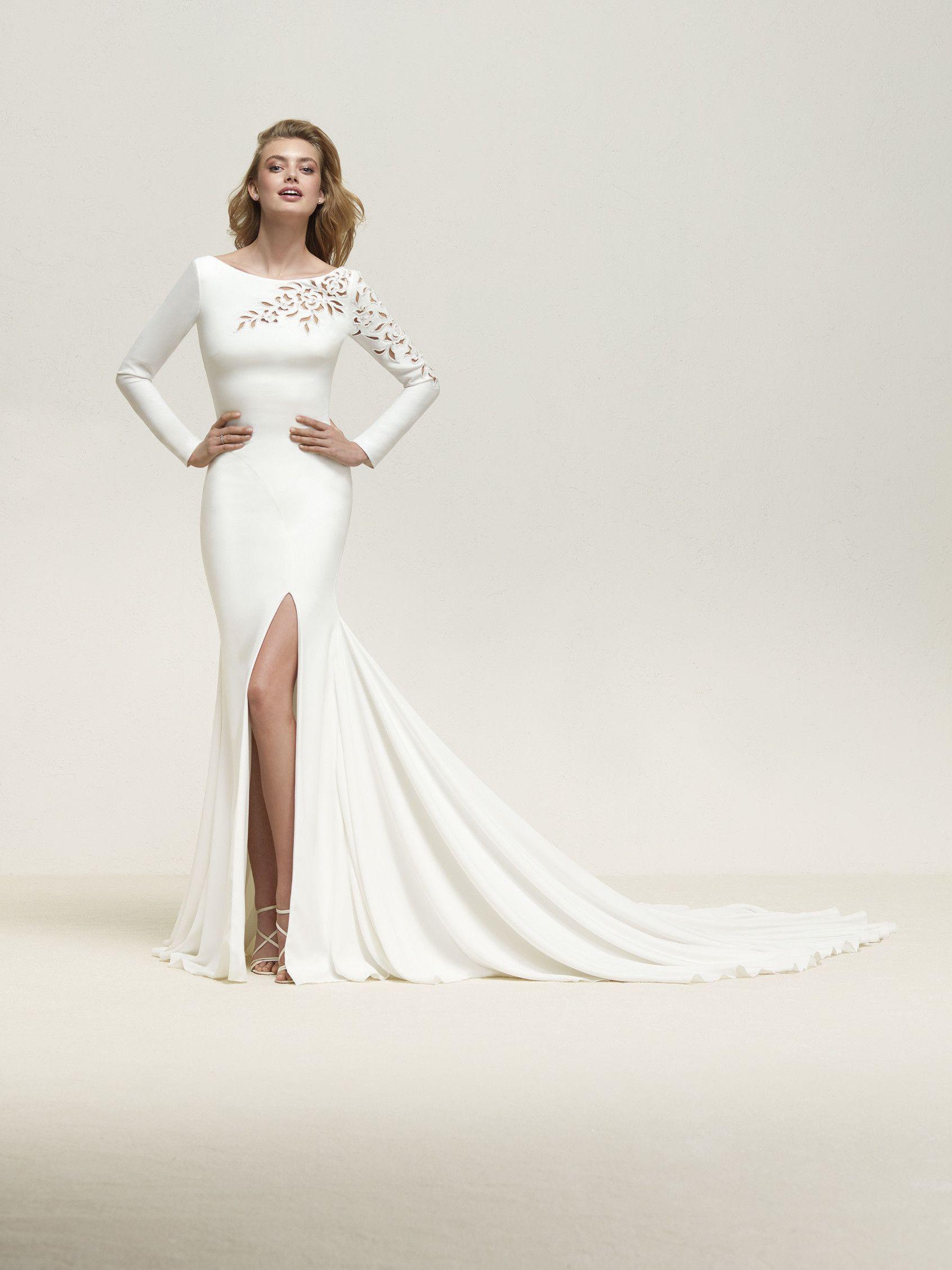 a25d1ba7e Vestido de novia sexy manga larga