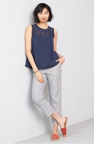 405404145684 Main Image - Caslon® Linen Crop Pants (Regular & Petite) | Clothes ...