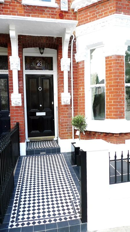 Beautiful example of a Victorian tiled path going to the front ...