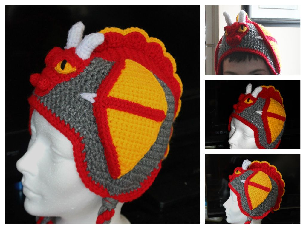 I made this Red Dragon hat as a Christmas gift for my best buddy