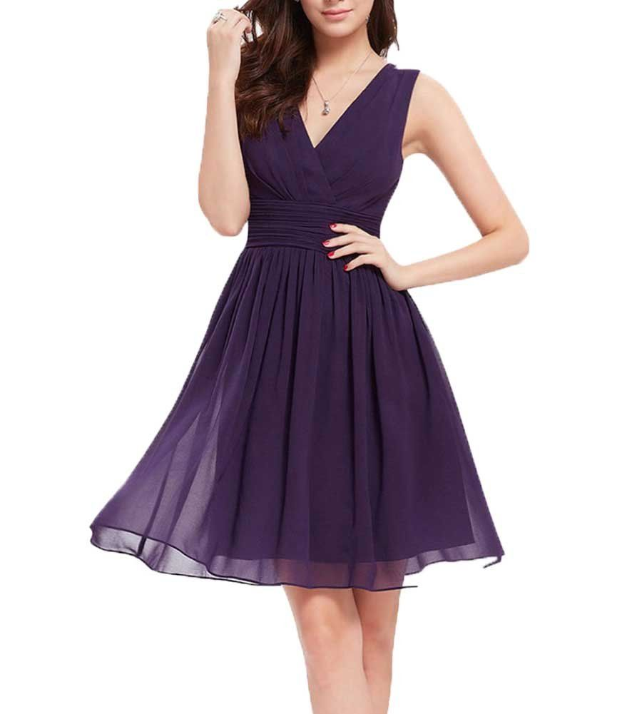 Vnaix bridals v neck chiffon party dress short bridesmaid dress