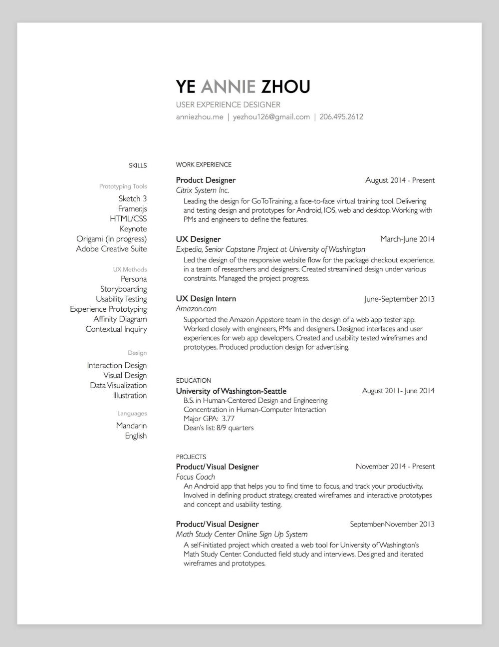 10 Amazing Designer Resumes that Passed Google's Bar - Resume design, Resume, Human centered design, Work experience, Engineering programs, User experience design - Jihoon is a student at Human Centered Design & Engineering program at University of Washington and former UX intern at Google  Hanna is a Senior UX Designer at Google Play Store team  She previously…