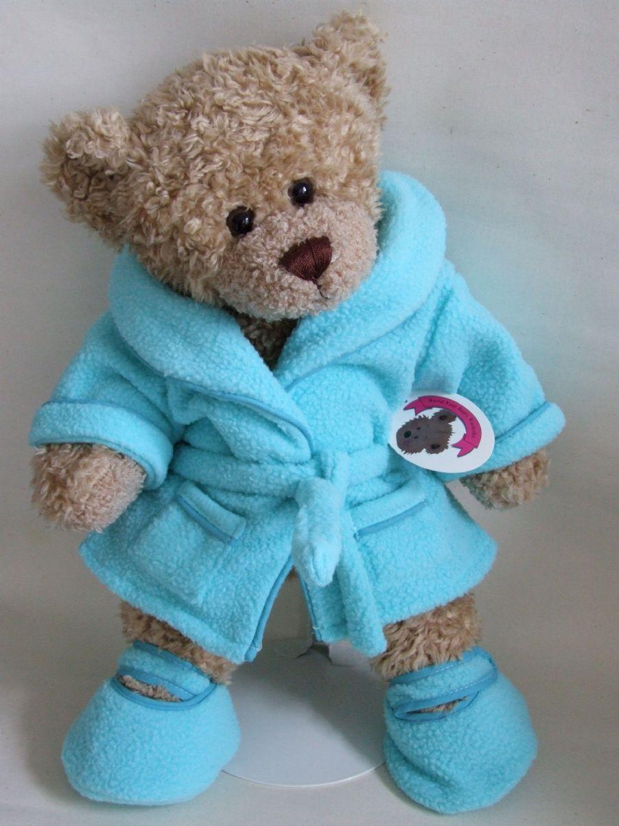 teddy bear clothes blue soft n cosy robe slippers  teddy