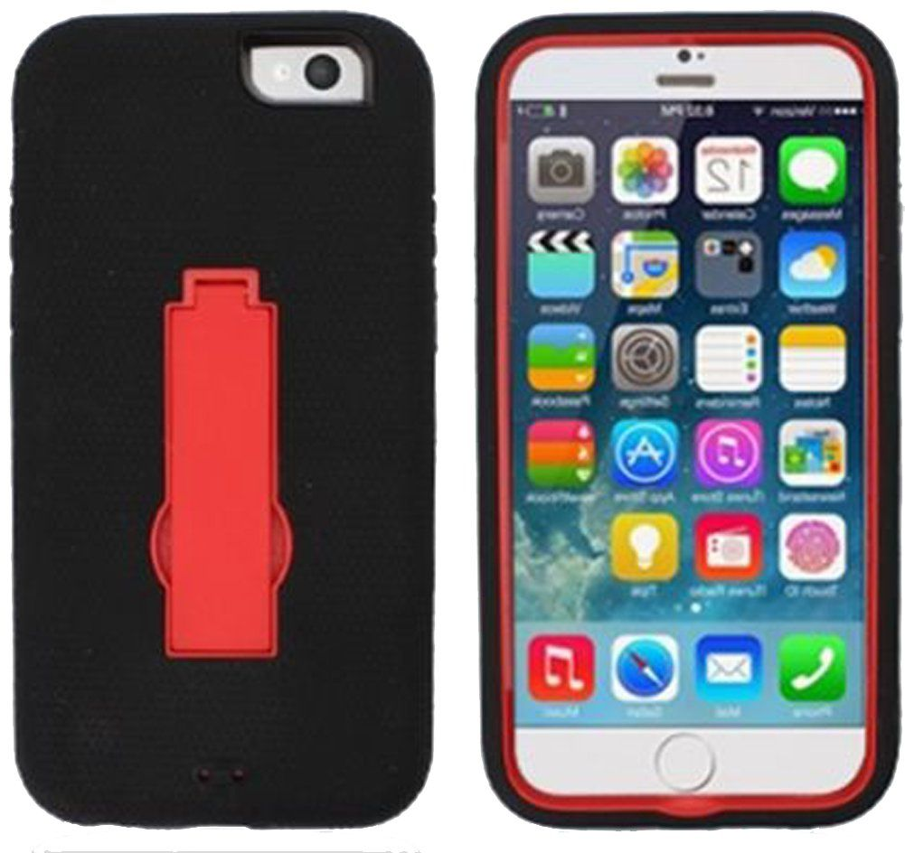 "myLife Crimson Red {Smooth Layered Kickstand Design} 3 Layer FLEX Hybrid Case for the NEW iPhone 6 (6G) 6th Generation Phone by Apple, 4.7"" Screen Version (Two Piece Internal Fitted Hard Protector Snap Shell + Full Body External Silicone EASY-Grip Bumper Gel Protection)"