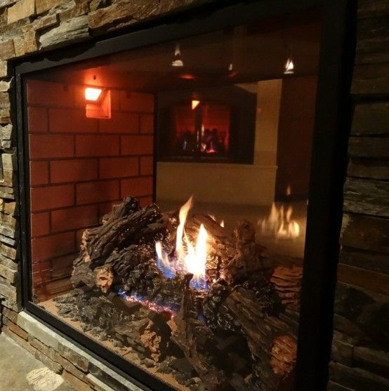 Close Up Of The Hd81 See Through Fireplace In Our Showroom The