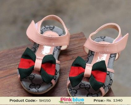 Shop Online Pink Colored Cute Party Infant Sandals with Bows