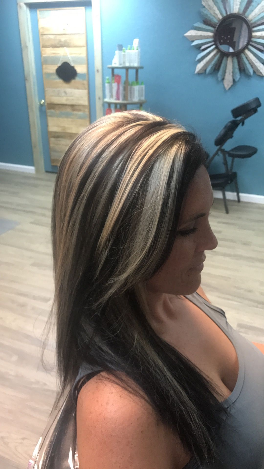 Dark And Blonde Chunky Hilites By Katie Hair Color Highlights