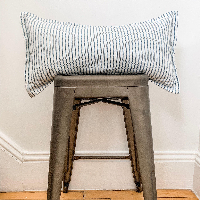 Blue ticking stripe long lumbar pillow cover blue throw