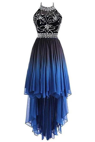 A Line Halter Beaded Blue High Low Chiffon Ombre Lace up Long Prom Dresses RS303 3