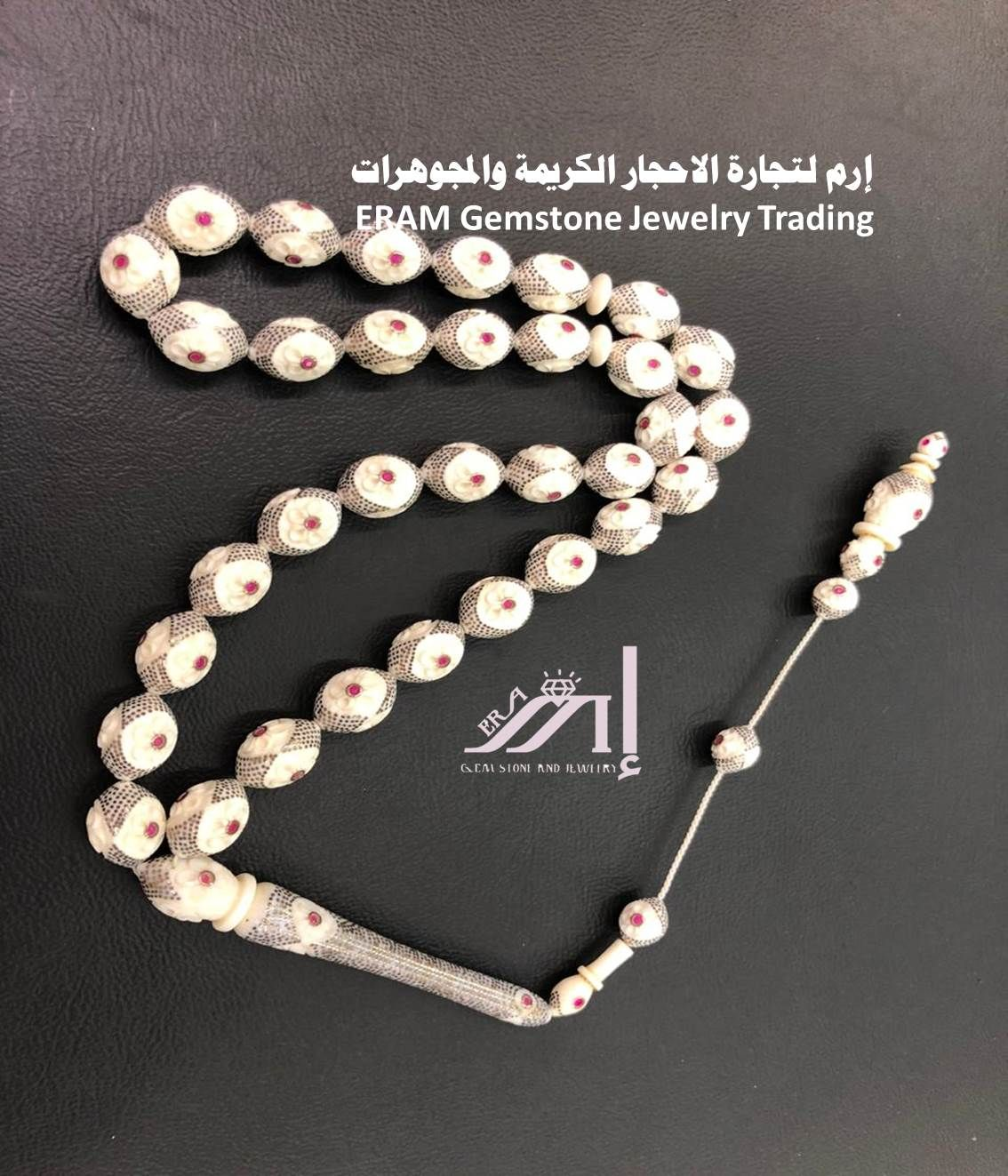 مسابح عاج مطعم ذهب ومرصعة ياقوت طبيعي 100 Diamond Bracelet Jewelry Diamond