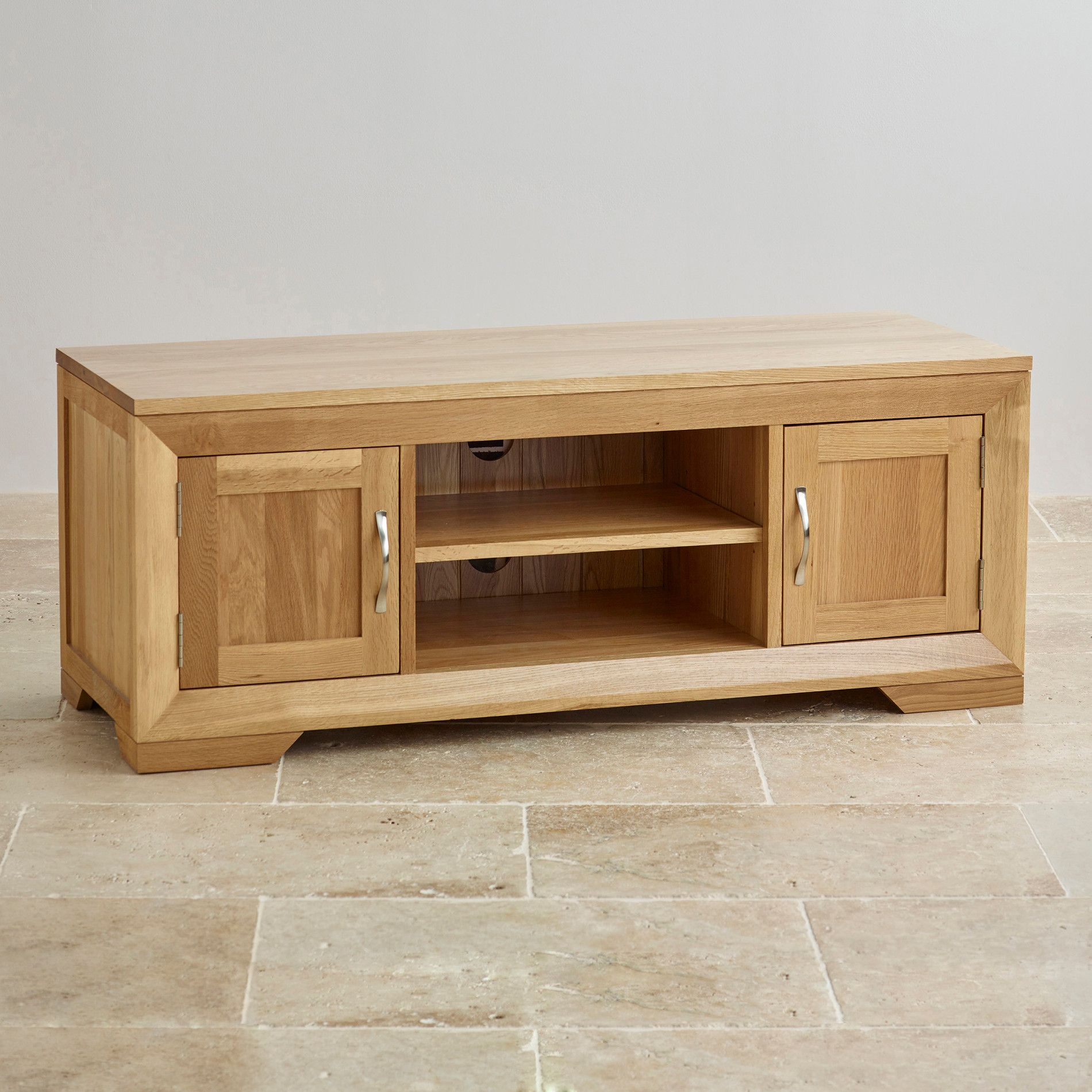 Bevel Natural Solid Oak Large Tv Cabinet Solid Oak Dvd Cabinets  # Meuble Tv Neon