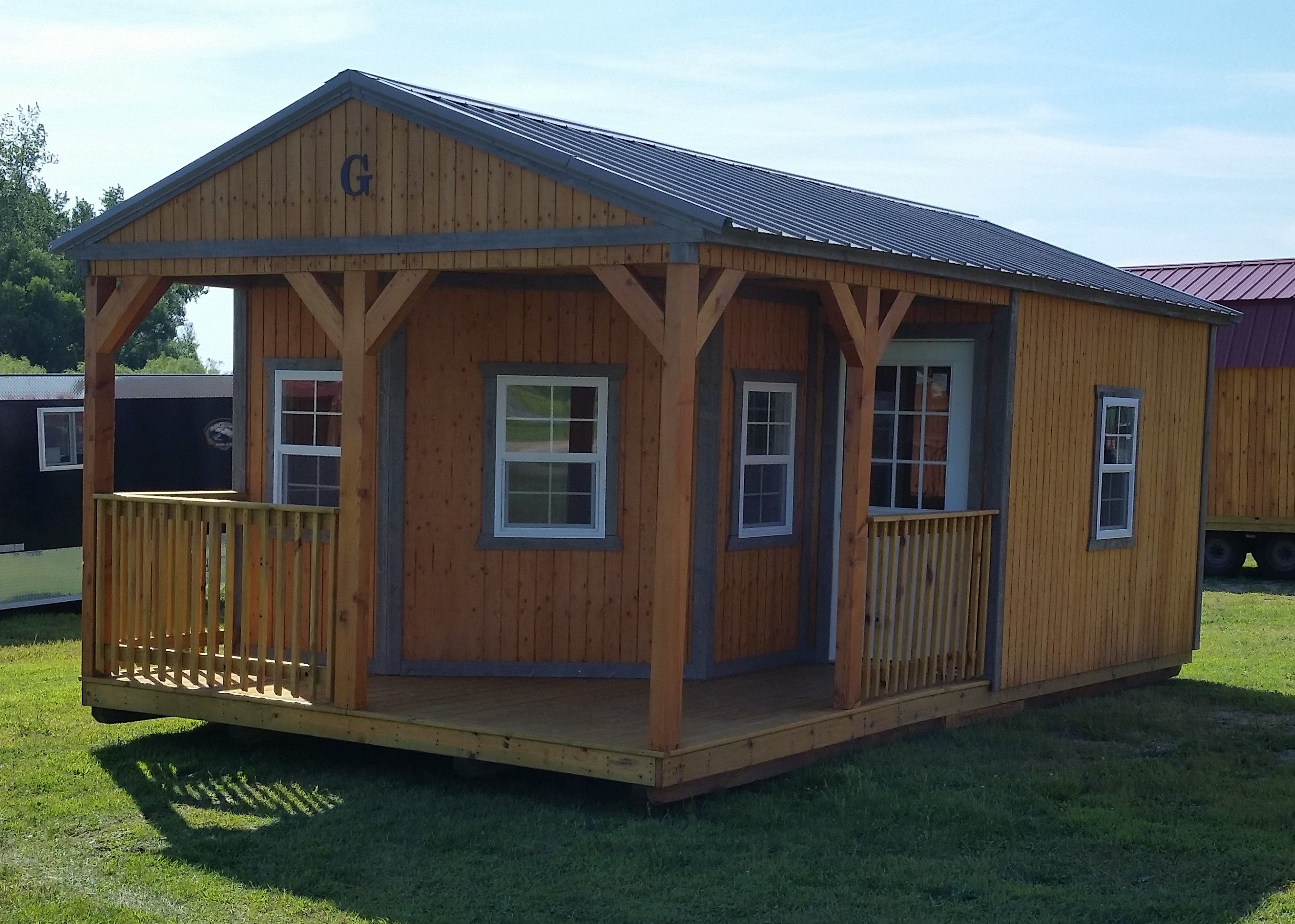 14x24 cabin with l shaped porch with railings buckskin for L shaped shed