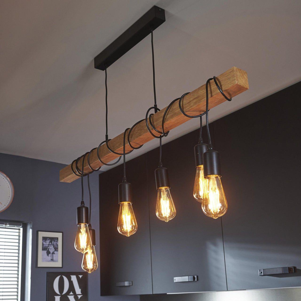 Suspension Nature Metal Hetre Eglo Townshend 6 Lumiere S D 10 Cm En 2020 Deco Salon Deco Maison Et Eclairage Rustique