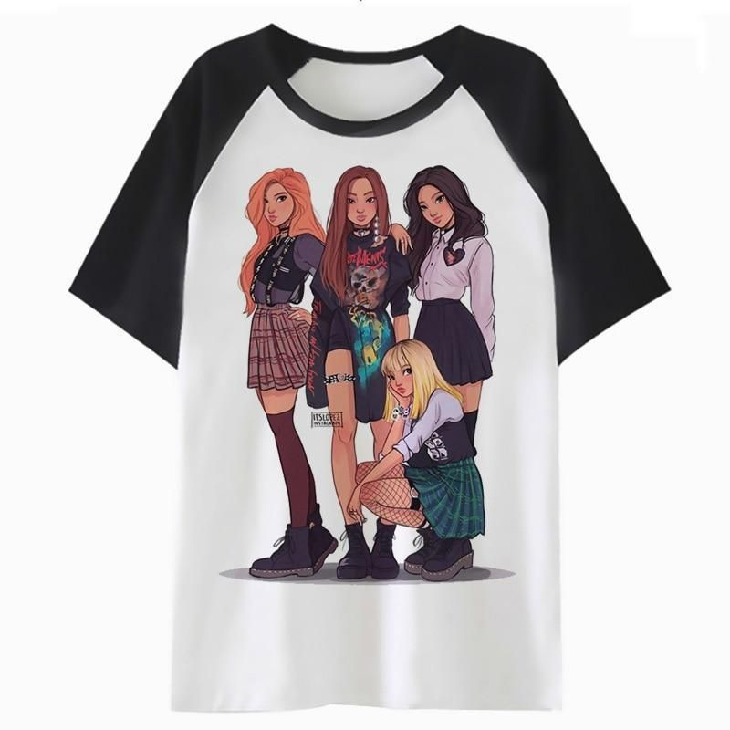 f8503ea19415d Blackpink t shirt clothing cartoon T-shirt harajuku kawaii K4080 en ...