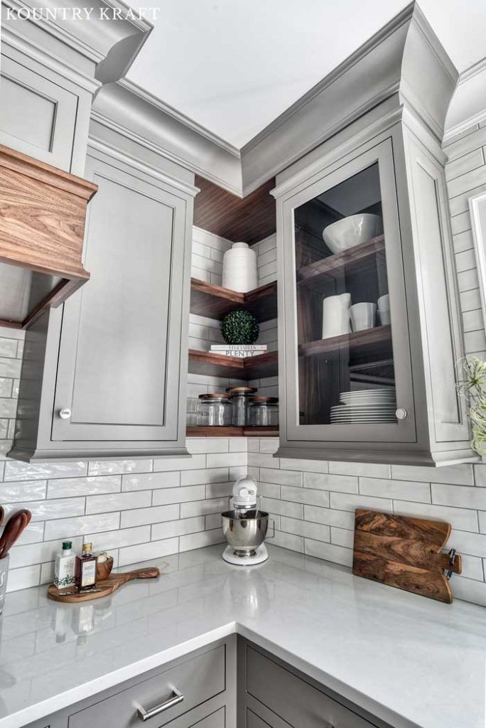 Dovetail Gray Cabinets With Glass Doors Neutral Kitchen Designs Kitchen Design Grey Kitchen Designs