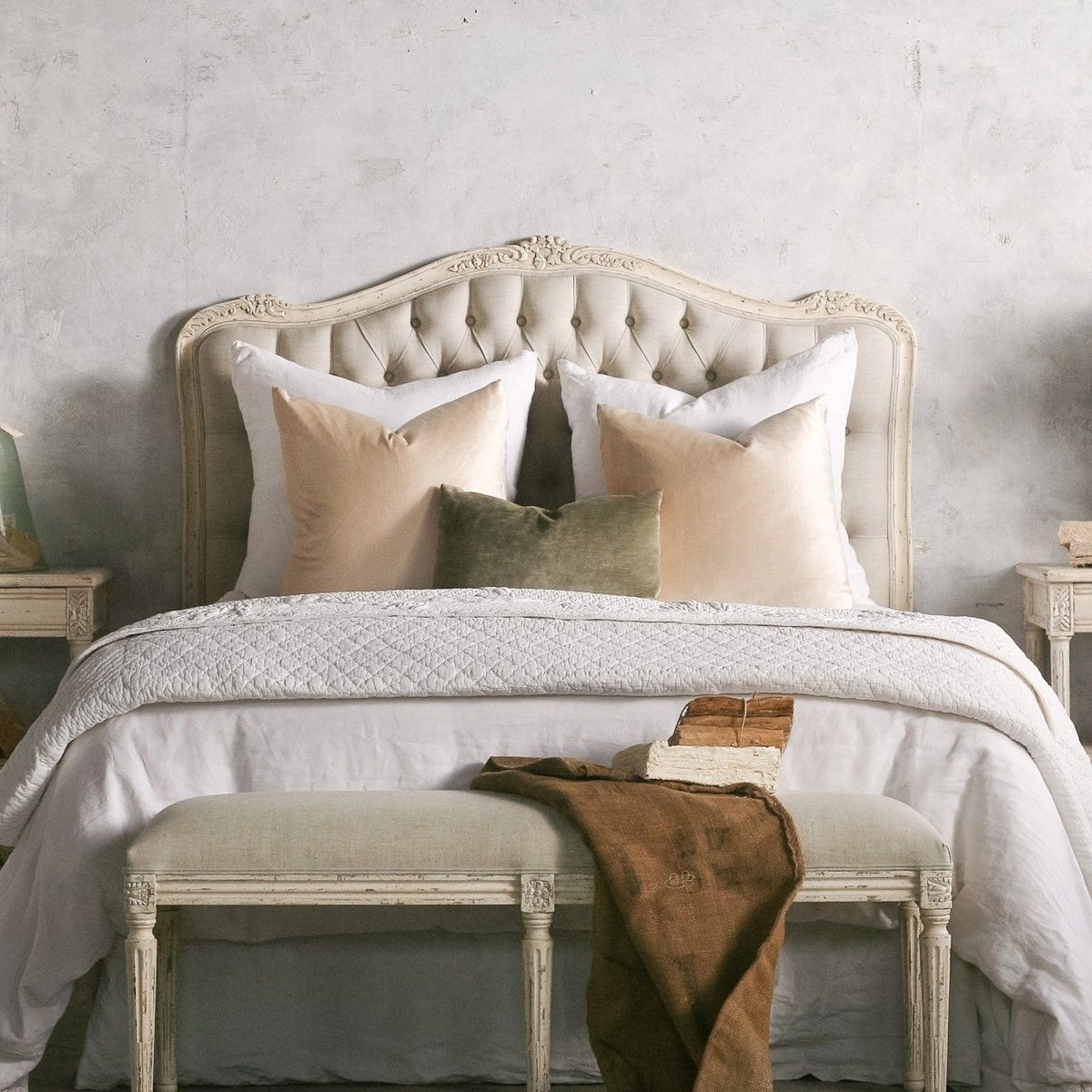 French Style Sophia Weathered White Headboard Country