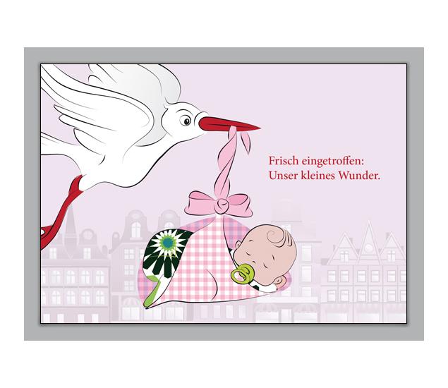 Babykarte Mit Storch Und Baby über Der Stadt: Bébé Est Arrivé!    Grusskarten Onlineshop