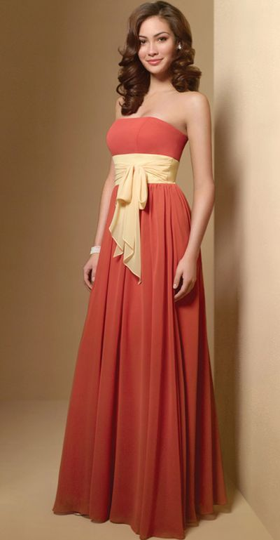 Alfred Angelo Long Chiffon Two Tone Bridesmaid Dress 7017 image ...