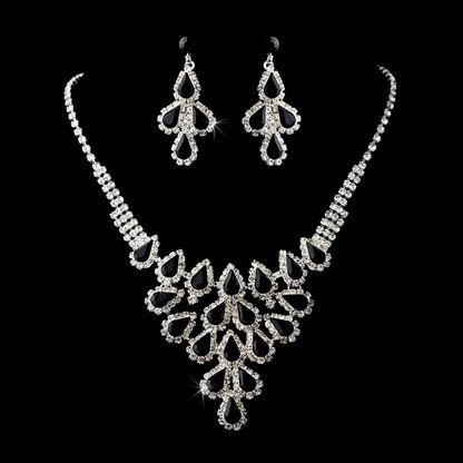 $54.99 Black Rhinestone Wedding and Prom Jewelry Set