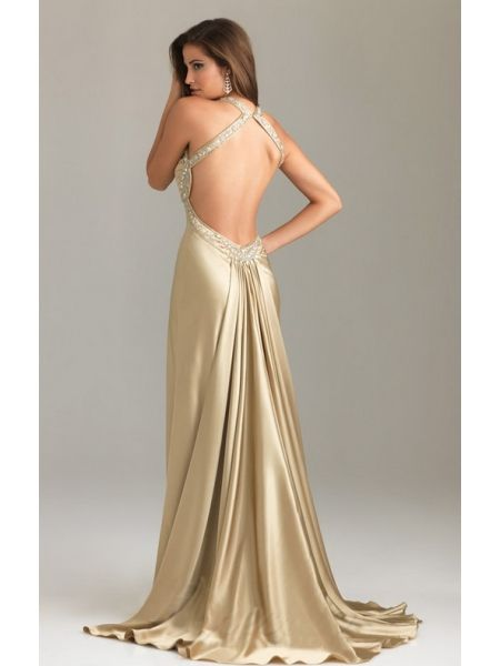 sexy rückenfrei gold abendkleid lang