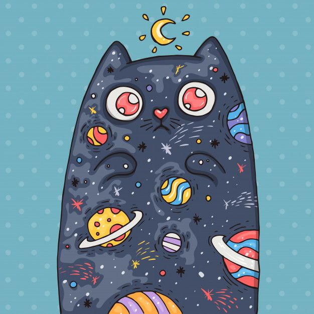 Cartoon Cute Cat With The Universe Inside. Cartoon Illustration In Comic Trendy Style.