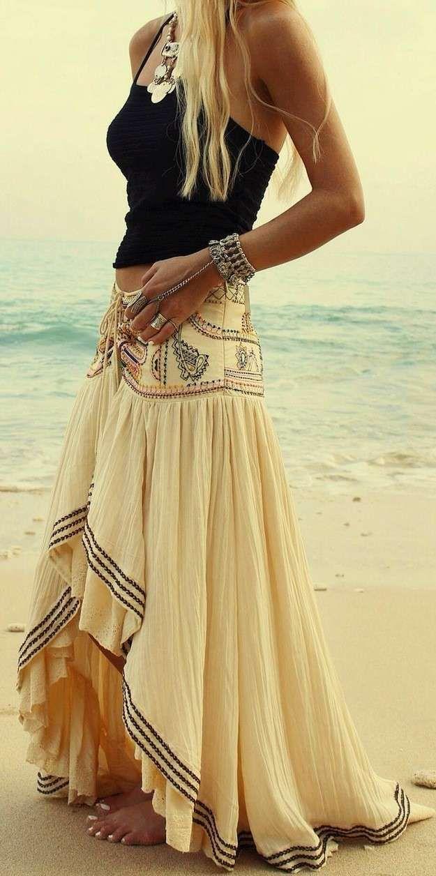 4beff5fd0 Estilo boho chic: fotos de los looks - Look falda larga boho | Ropa ...