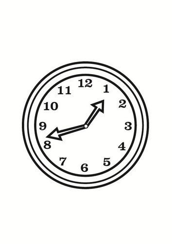 Dibujo para colorear reloj | Diario mural mensual | Clock y Wall