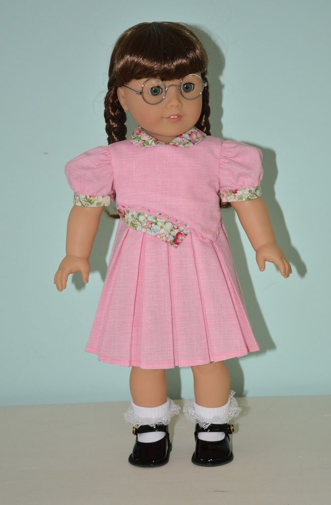 """1940's Pink Sunday Doll Dress 18""""American Girl w/Floral Trim Molly, Emily, Kit #Handmade #ClothingShoes"""