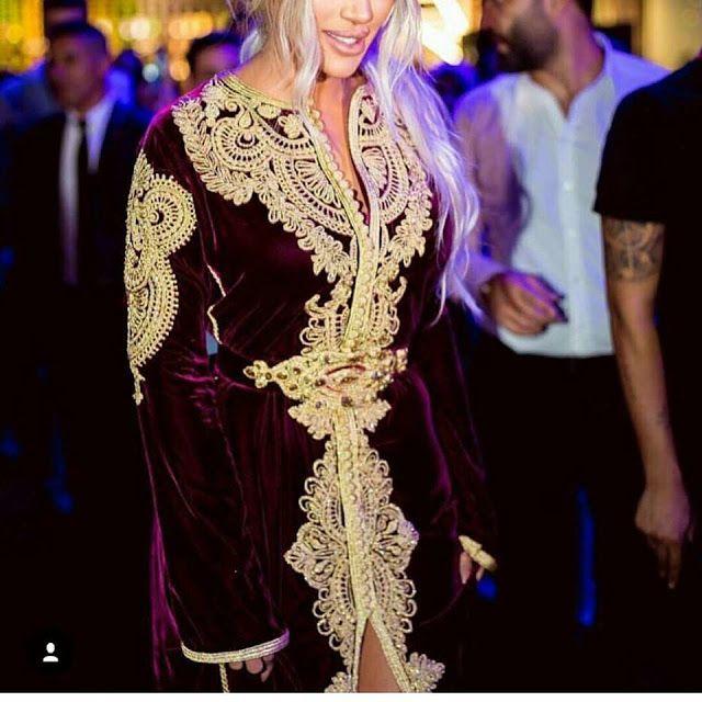 Caftan Velours   Brocard 2018 - Vente Sur Mesure - Caftan Marocain de Luxe  2018   Boutique Vente Caftan Pas Cher ee1b9839480
