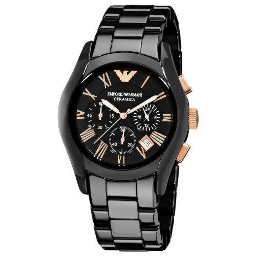 Emporio Armani Men's AR1410 Ceramic Black Chronograph Dial Watch Emporio Armani. $495.00. Black ceramic case. Quartz movement. Black ceramic bracelet. Black chronograph dial. Water-resistant to 30 m (100 feet)