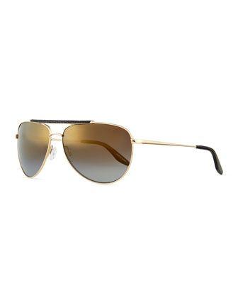 d3c1f4dd0f Breed Leather-Detail Mirrored Aviator Sunglasses